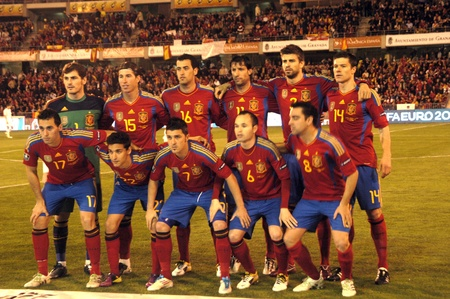international football match between the spanish team in football and the czech republic in the stadium crmenes of granada 25032011