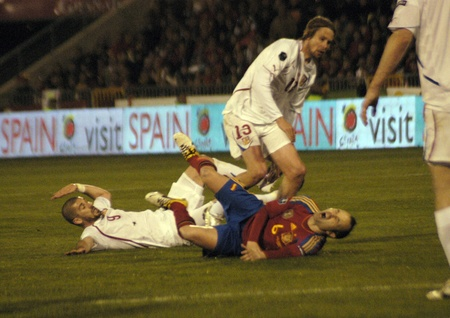 warning fans: international football match between the spanish team in football and the czech republic in the stadium crmenes of granada 25032011 Editorial