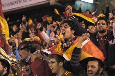 football party: international football match between the spanish team in football and the czech republic in the stadium crmenes of granada 25032011 Editorial