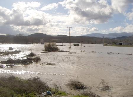 08/01/2010 - spain - granada - floods in huetor chop, in the province of granada, due to rainstorm Stock Photo - 9649296