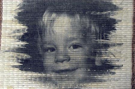 emulsion: liquid emulsion baby on black and white Stock Photo