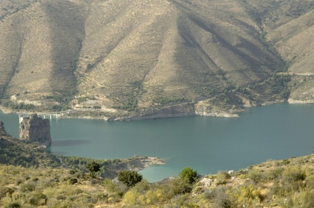 channel in view of the sierra nevada marsh, in the province of granada 08/12/2011 Stock Photo - 10371622