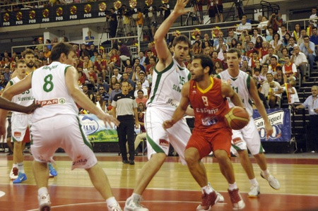 basketball game in preparation for the euro from the basketball selection against slovenia spain 21-08-2011