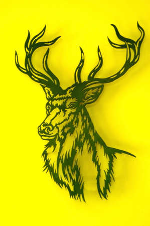 signposted: deer illustration on yellow background Stock Photo