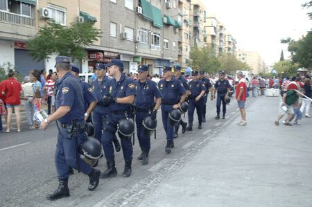 atmosphere prior to the football game between the granada cf and deployment of police betis 27082011