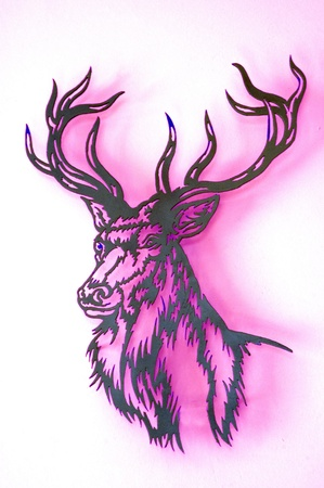 signposted: illustration of deer on pink and white background