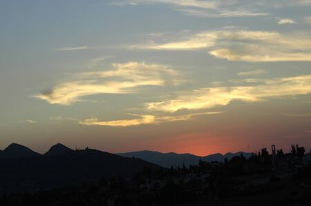sunset in sierra elvira, view from the town of hazard, in the province of granada photo
