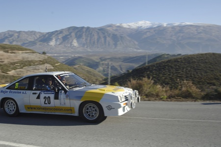 rally of classic cars of the first snow of the Sierra Nevada, between Shell and Saleres stretch. 26/11/2011 Stock Photo - 11336208