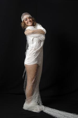 una joven modelo con una red Foto de archivo