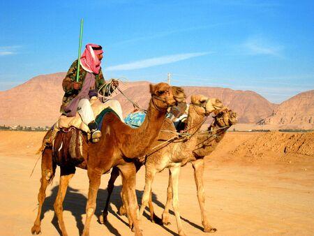 wadi: Bedouin riding camels in Wadi Rum desert, Jordan