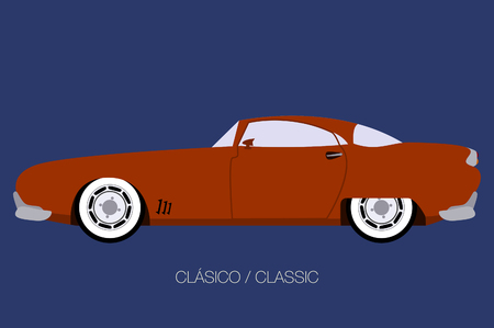american classic car, side view,  flat design style