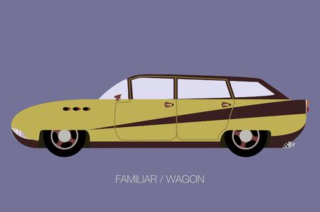 retro station wagon car, vector Illustration