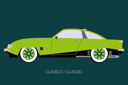 side view old car, side view,  flat design style Illustration