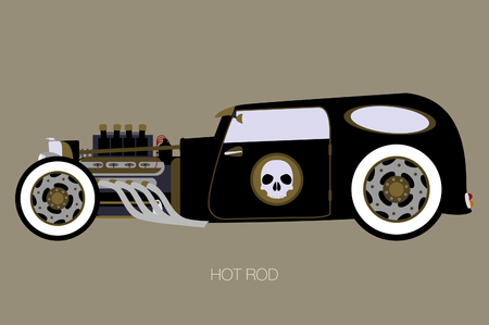 skull hot rod, side view of car, automobile, motor vehicle