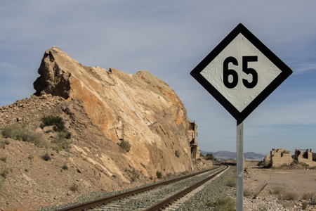signs to the train speed, speed limitation sign for railway