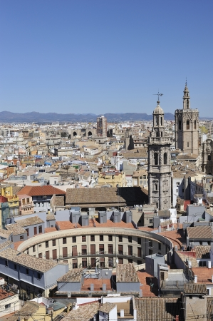valencia: Aerial view of Valencia with two important old buildings, the Plaza Redonda and Miguelete, symbols of the city