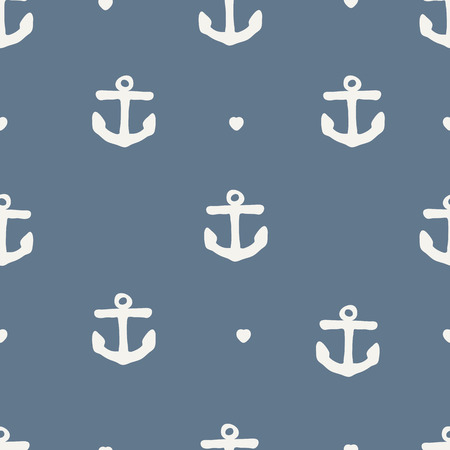 seamless anchor pattern with heart Vector