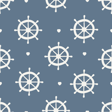 seamless pattern. ship wheel with heart Vector