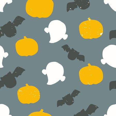 seamless halloween pattern with grunge texture background design Vector