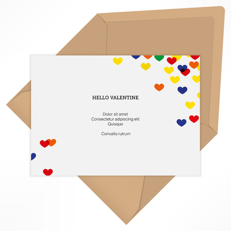 hello heart: Vector background. Hello valentine with heart. Love letter design template Illustration