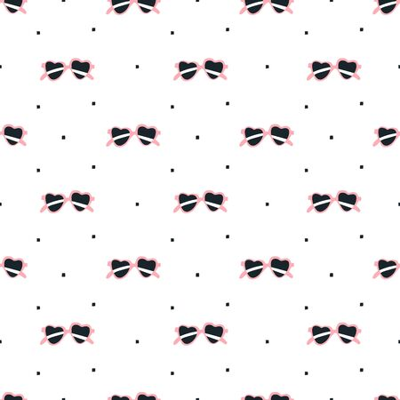 fabric patterns: seamless pattern, sunglasses with heart shape vector art  background design for fabric and decor Illustration