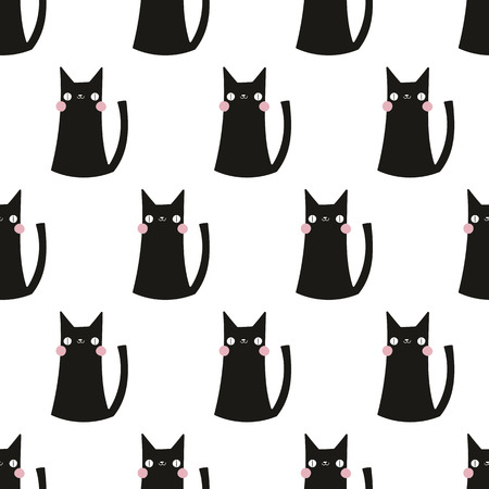 seamless pattern,cat vector art  background design for fabric and decor 일러스트