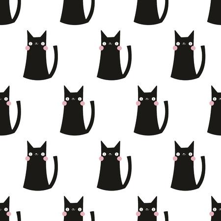 koty: wzór bez szwu, kot wektor wzór tła dla sztuki tkaniny i wystrój