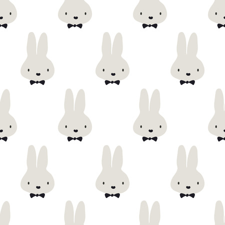 seamless pattern,cute rabbit vector art  background design for fabric and decor Çizim