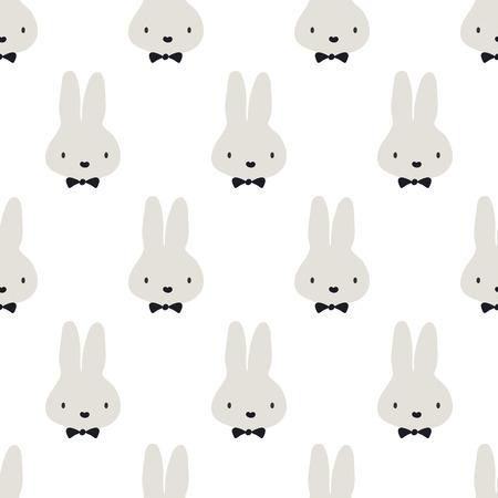 conejo: sin patrón, diseño de arte fondo conejo vector lindo para tela y decoración Vectores