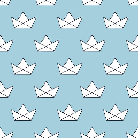 beach wrap: seamless pattern,paper boat vector art  background design for fabric and decor