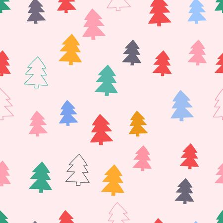 holliday: seamless pattern, christmas tree art  background design for fabric and decor Illustration