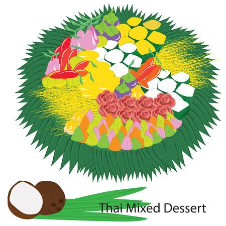 Thai mixed dessert Illustration