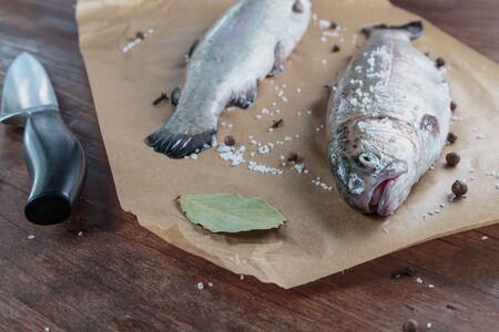 River trout on a chopping board
