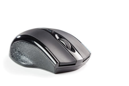 computer mouse wireless black plastic isolated on white background