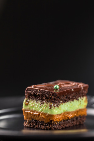 Close-up chocolate biscuit cake with pistachio cream and boiled condensed milk. Copy space.