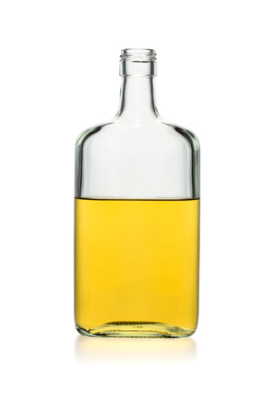 Incomplete bottle of whiskey rectangular isolated on a white background. Vertical. Stock fotó