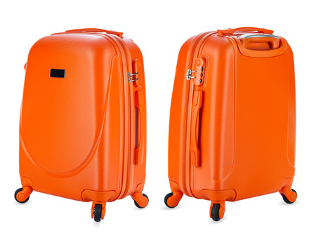 Set of suitcases on white background Banque d'images