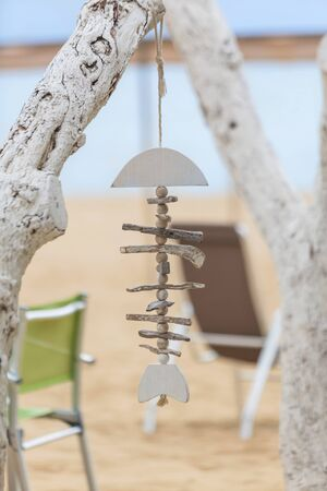 Decoration beach cafe from readily available natural materials.