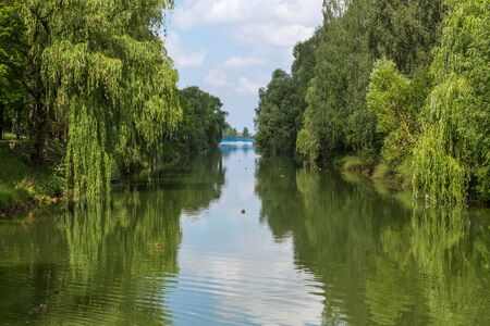 Beautiful water landscape with reflections of lush green trees in calm water with floating ducks and a blue bridge across the river in the distance against a blue sky with clouds. Woter landscape.