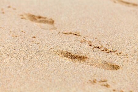 Footprints in the sand. Selective focus