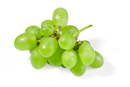 Fresh green grapes isolated on white background Imagens - 128615689