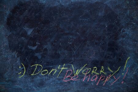 Dirty chalk Board with the words DON't WORRY BE HAPPY and smiley. Blackboard with chalk doodle, can put more text at a later. Imagens - 128615929