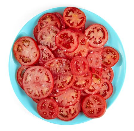 Healthy natural food, background. Tomatoes slices. The organic food Imagens