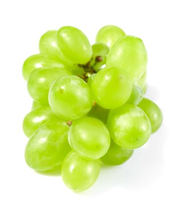 Fresh green grapes isolated on white background