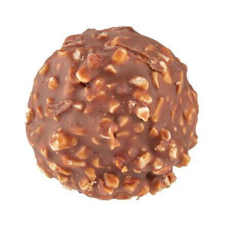 Beautiful chocolate candy ball shape with filling and nuts, isolated on white background. Full sharpness across the entire frame field. Isolated. Imagens