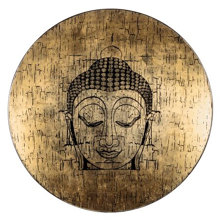 Buddhas face on an old gilded disk of wood. Interior decoration. Isolated on white.