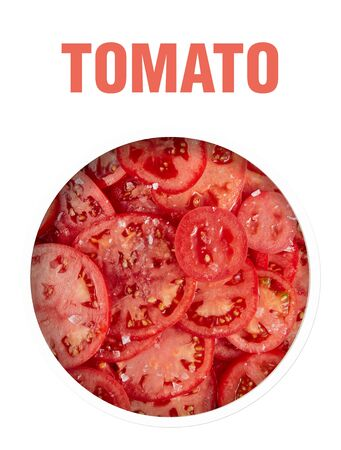 Healthy natural food, background. Tomatoes slices. The organic food. Finished image for use on the package. Stockfoto