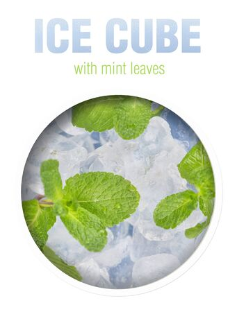 Fresh mint leaves lie on ice cubes. Preparation of cocktails. Concept purity and freshness. Finished image for use on the package.