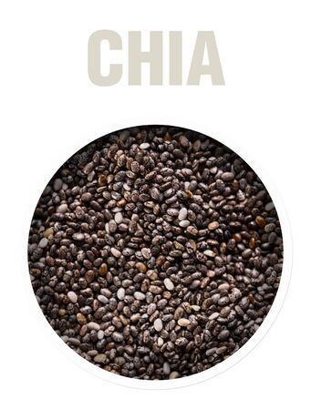 Chia seeds closeup. The texture of the seeds. Finished image for use on the package.