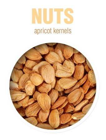 Apricot kernels closeup. Finished image for use on the package. Stockfoto